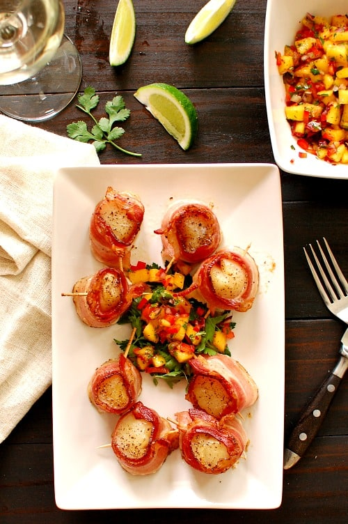 Bacon Wrapped Scallops With Mango Salsa Joe S Healthy Meals