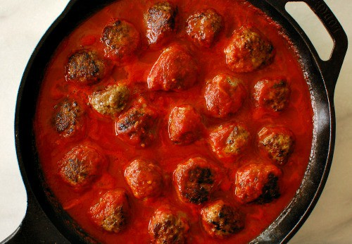 Italian meatballs in marinara. Delicious start to the cheesy meatball skillet.   joeshealthymeals.com