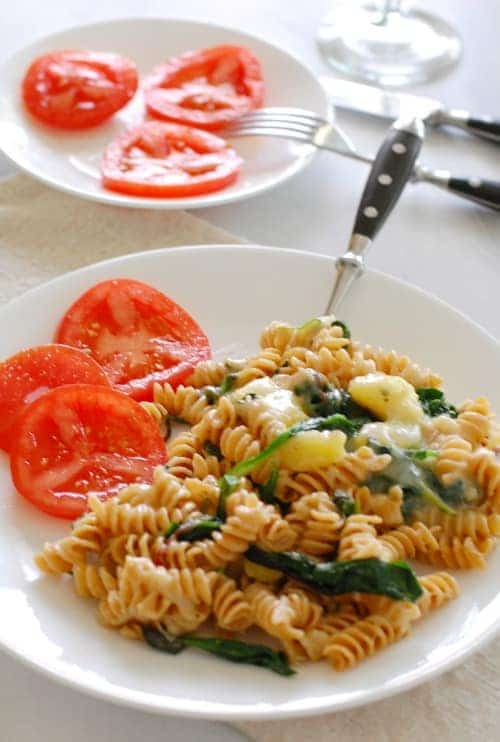 Pasta with potatoes and greens. Simple and satisfying vegetarian meal. | joeshealthymeals.com