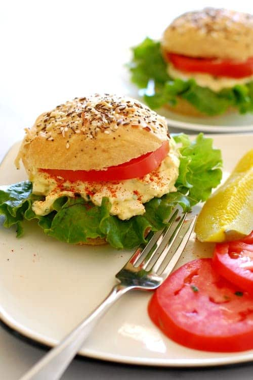 rye sandwich rollswith egg salad and tomato