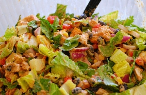Close up view of a bowl of chicken salad.