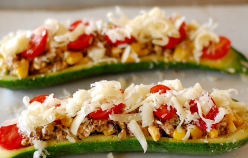 Stuffed zucchini boats. YUM! | joeshealthymeals.com