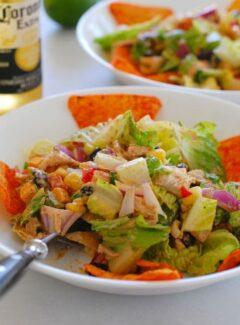 Bowl of Tex-Mex chopped chicken salad.
