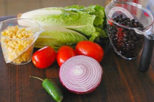 Tex-Mex salad ingredients.