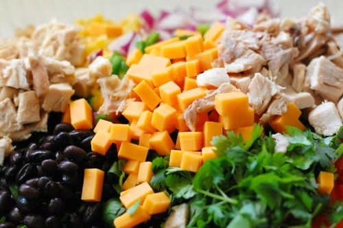Chopped chicken and cheese for the salad.