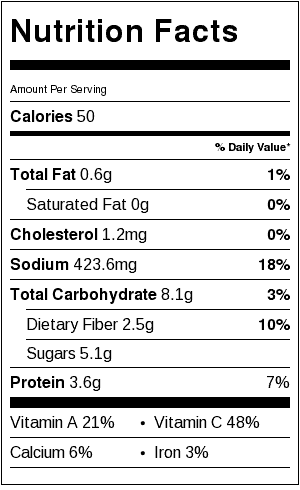 Cole slaw nutrition label