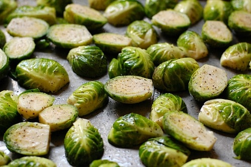 Brussels sprouts on sheet pan. joeshealthymeals.com