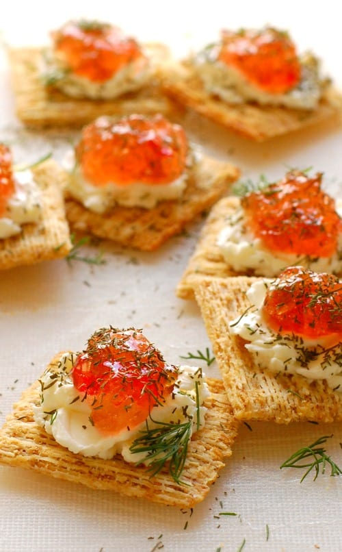 Pepper jelly cream cheese appetizer. So easy to make and every one loves them!   joeshealthymeals.com