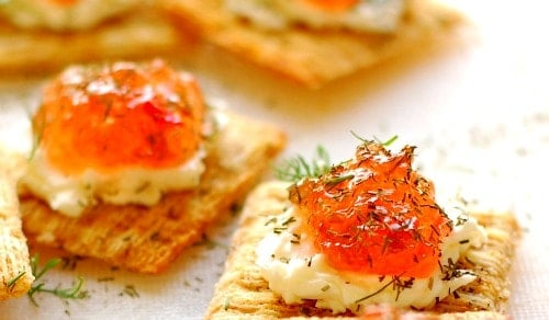 Pepper jelly appetizer. Super easy to make and so delicious to eat. Everyone loves these!   joeshealthymeals.com