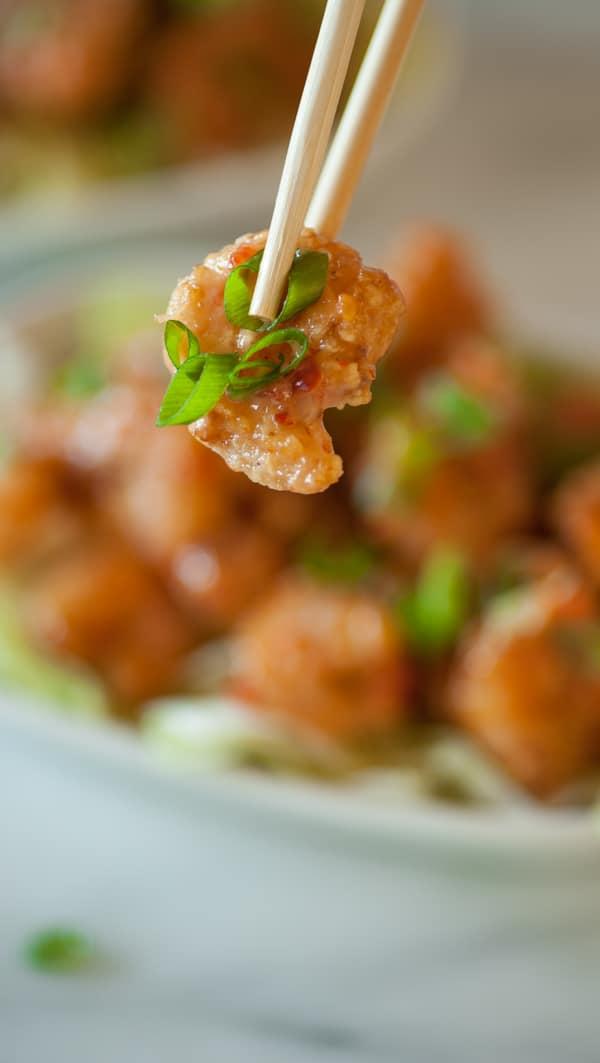 Close up of the fried shrimp.