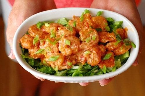 Plated breaded shrimp.