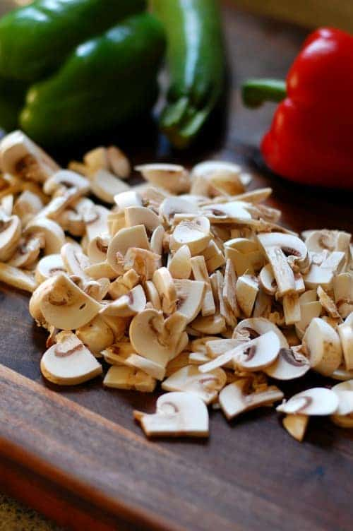 Mushrooms for no crust vegetable quiche.