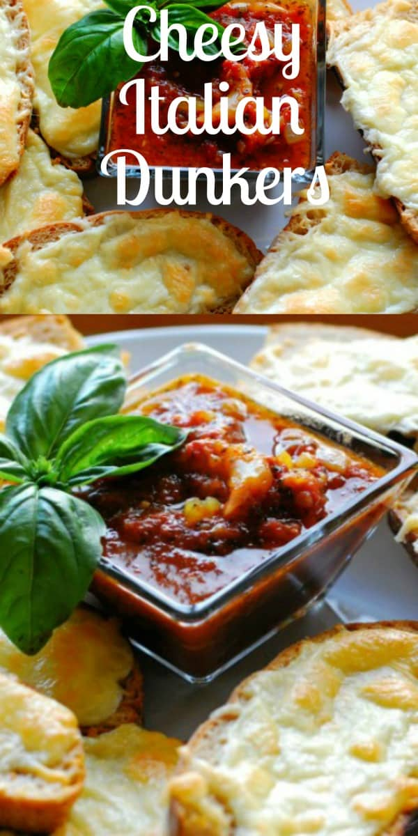 Collage of cheese bread and marinara sauce in a bowl.