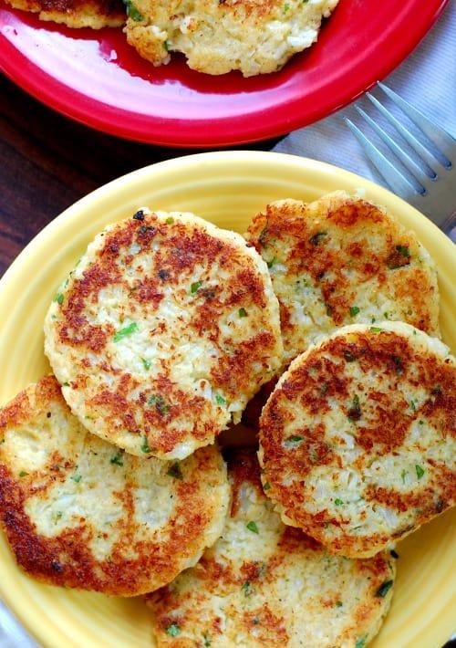 Plate of fried cauliflower patties.