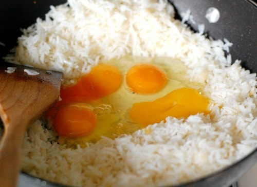 Rice and eggs in skillet. |joeshealthymeals.com