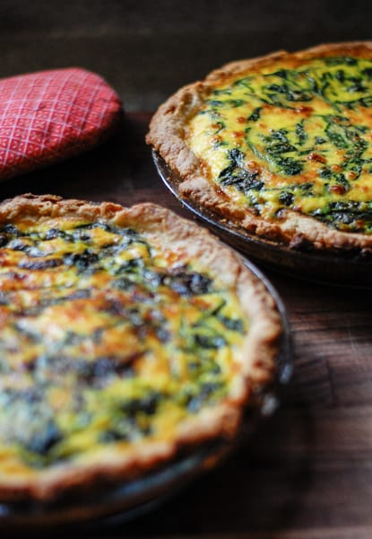 2 spinach potato quiches ready to eat