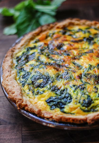 Vegetarian spinach potato quiche ready to eat