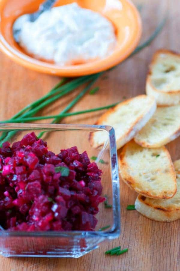 Beet tartare recipe. Tasty snack or appetizer using roasted beets accented with creamy blue cheese. | joeshealthymeals.com