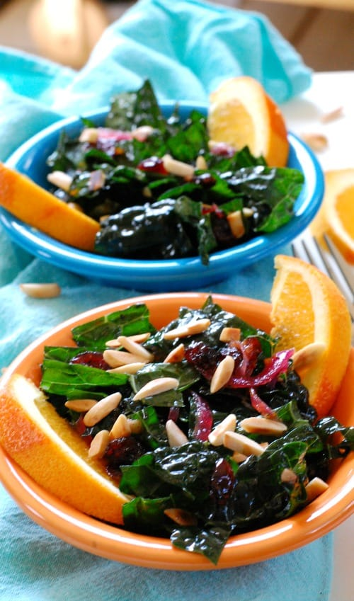 Kale Salad with Cranberry Orange Dressing. | joeshealthymeals.com