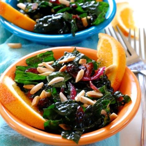 Kale salad with cranberry orange dressing | joeshealthymeals.com