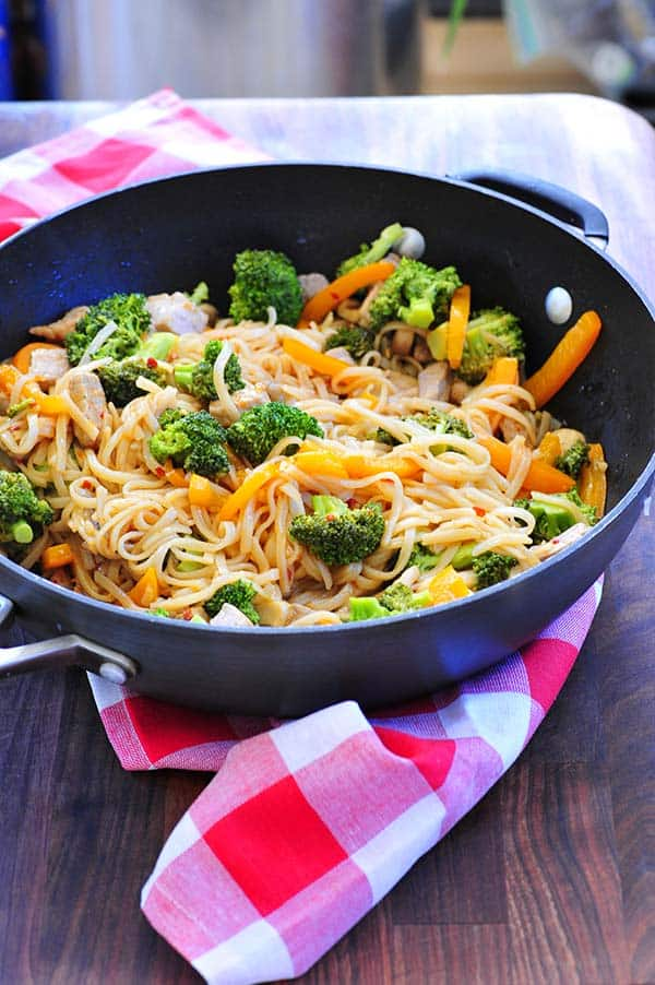 Rice noodles with vegetables in a bowl.