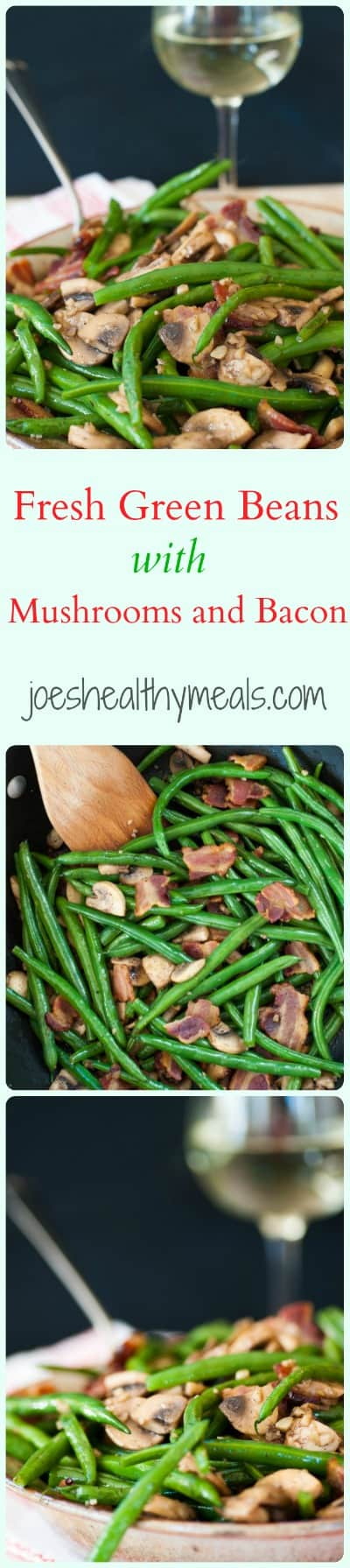 Green beans with mushrooms and bacon. Easy and delicious side dish with lots of bacony flavor and green bean freshness. | joeshealthymeals.com