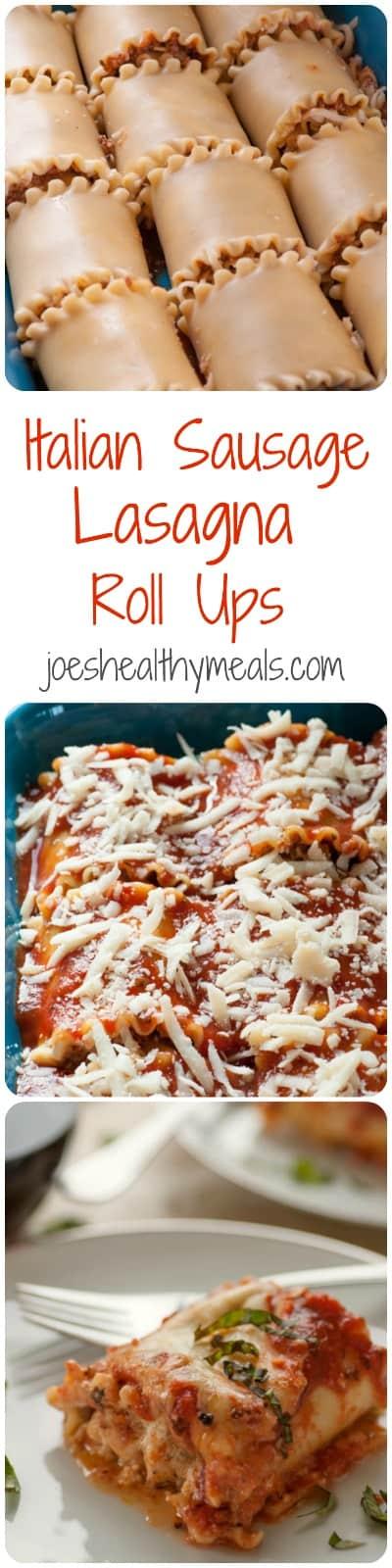 Italian sausage lasagna roll ups Pinterest collage.