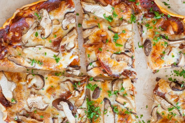 Close-up overhead view of pizza.