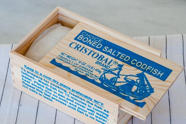 Boned salted codfish. Caribbean salt cod fritters