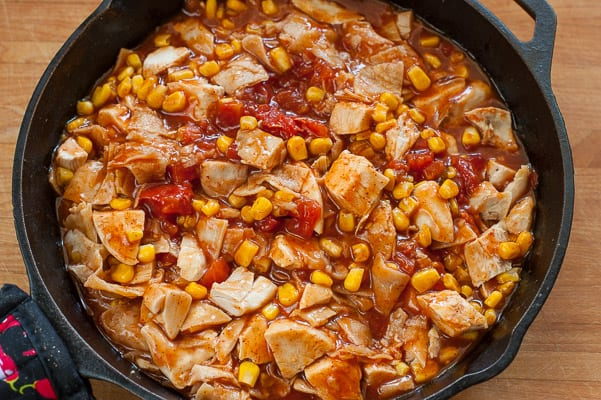 Chicken enchilada skillet before the cheese is added