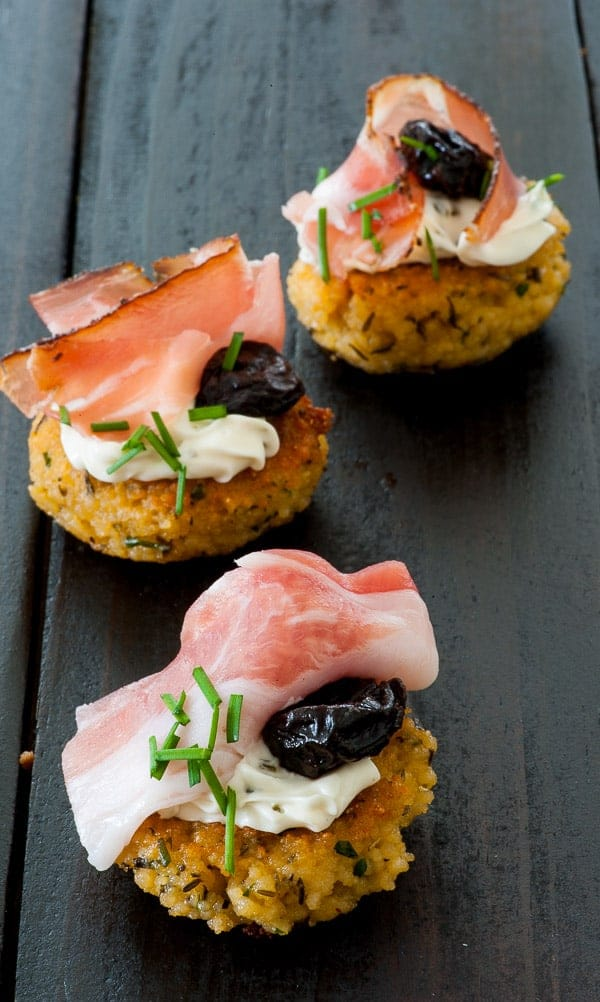 Couscous patty with smoked prosciutto. Appetizer recipe. | joeshealthymeals.com