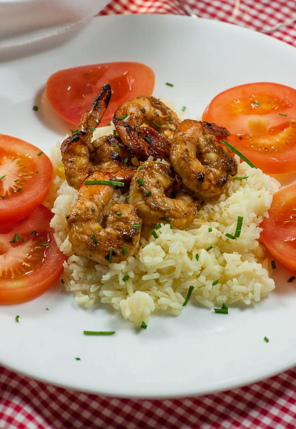 Marinated grilled shrimp with key lime beurre blanc. Tasty marinade to use for grilling shrimp, chicken or pork, coated with a rich and creamy beurre blanc. | joeshealthymeals.com