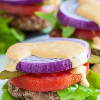 Nutty oat burgers with portobello caps. | joeshealthymeals.com