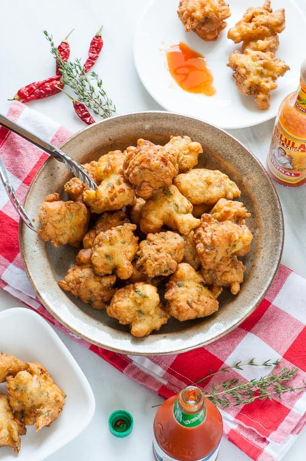 Caribbean salted codfish fritters in a bowl