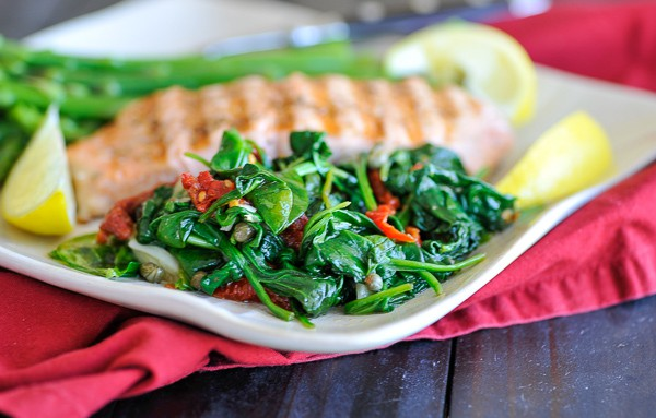 Plate of wilted spinach.