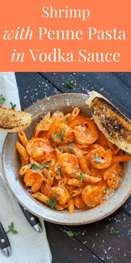 collage of shrimp with penne in vodka sauce