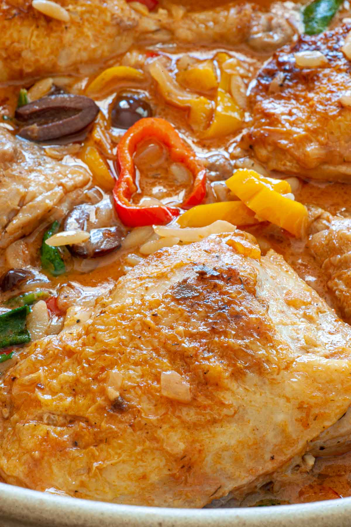 Close up of cooked chicken.