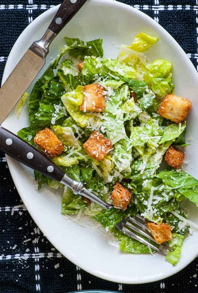Close up view of a Traditional Caesar Salad.