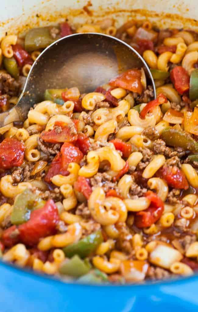 One pot American style goulash. Easy comfort food that takes no time to make and tastes like mom made it. Enjoy! | joeshealthymeals.com
