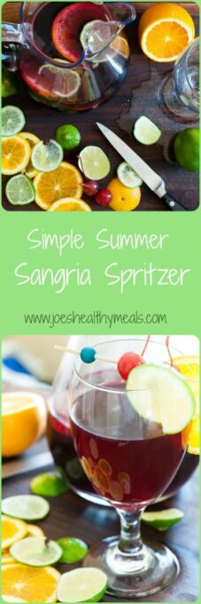 Simple summer sangria spritzer collage. Just the most refreshing summer drink there is.   joeshealthymeals.com