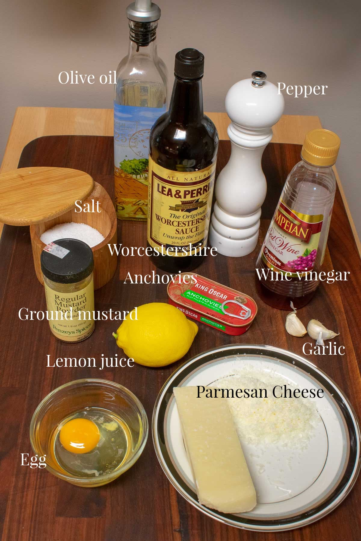 Photo of the ingredients used to make the dressing.