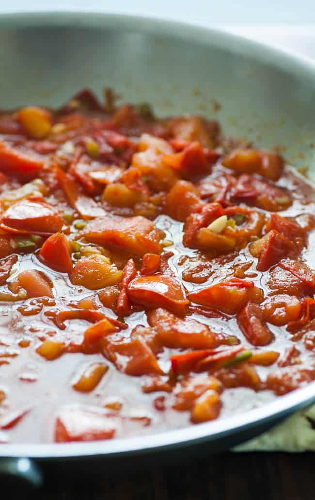 Roma tomatoes and shrimp sauce. A wonderful meld of flavors produced using fresh ingredients. | joeshealthymeals.com