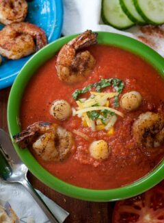 Summertime seafood gazpacho. Perfect warm weather meal. | joeshealthymeals.com