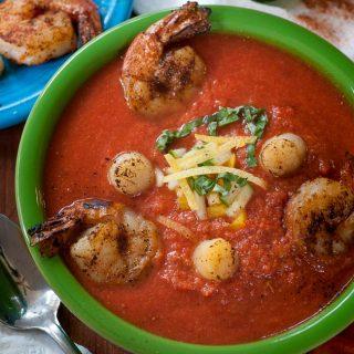 Summertime seafood gazpacho. Perfect warm weather meal. | joeshealthymeals.com