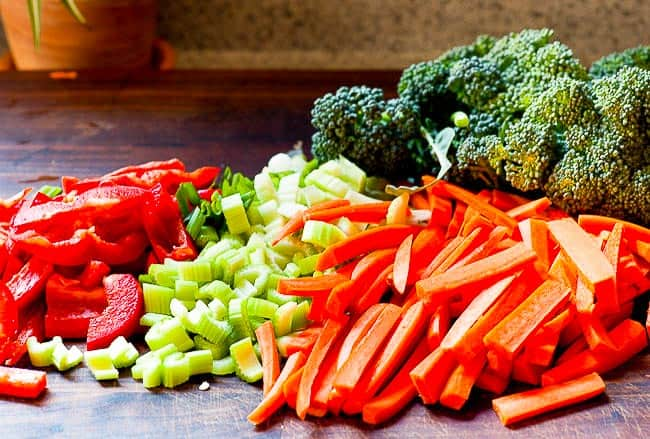 Vegetables for stir fry. Tasty recipe for an Asian inspired meal. | joeshealthymeals.com