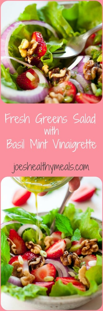 Fresh greens salad with basil mint vinaigrette collage. Tasty combination of flavors for a healthy salad. | joeshealthymeals.com