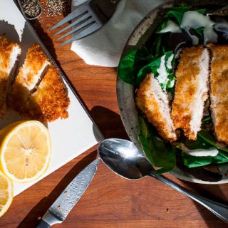 Best crispy chicken cutlets. Tasty chicken cutlets perfectly fried and served with a spring mix salad. | joeshealthymeals.com