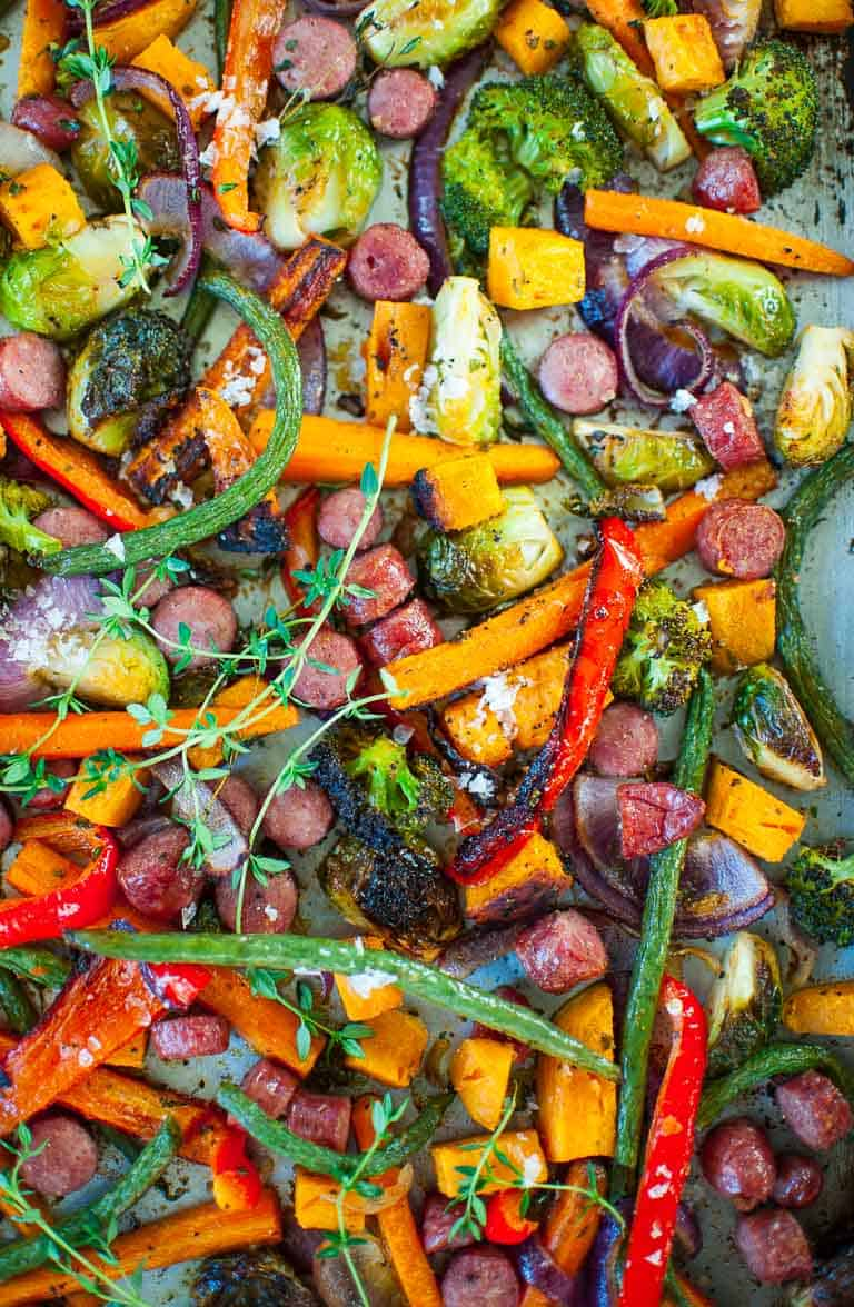 Roasted vegetables in a sheet pan.