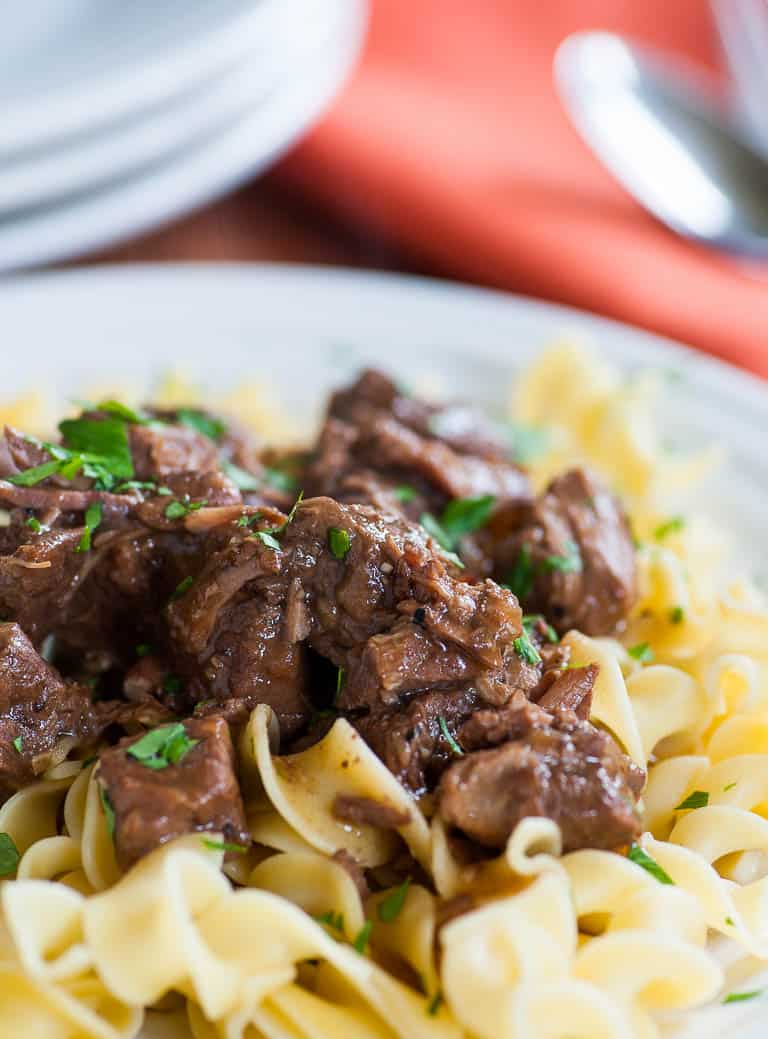 beef tip gravy on egg noodles