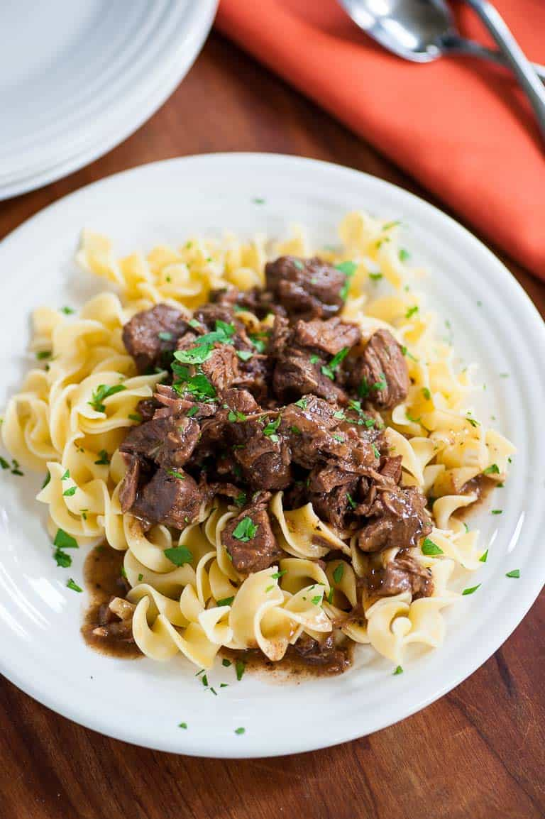 Tender beef tips on egg noodles